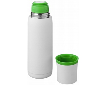 Náhled produktu Vakuová termoska SPLIT 500 ml se šálkem - bílá / zelená
