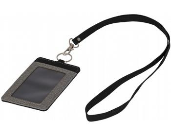 Náhled produktu Plastové pouzdro na jmenovku CLINTON s lanyardem s kovovou karabinkou - šedá / černá