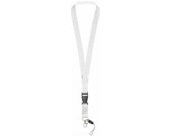 Náhled produktu Polyesterová klíčenka QUEEN s odepínací přezkou - bílá