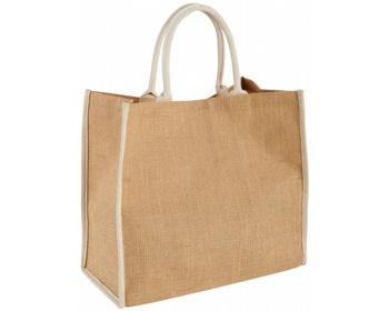 Náhled produktu Velká jutová taška GLUER se zapínáním na suchý zip - přírodní / bílá