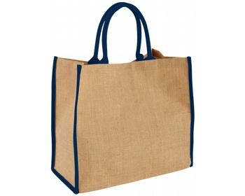 Náhled produktu Velká jutová taška GLUER se zapínáním na suchý zip - přírodní / námořní modrá