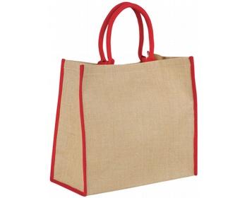 Náhled produktu Velká jutová taška GLUER se zapínáním na suchý zip - přírodní / červená