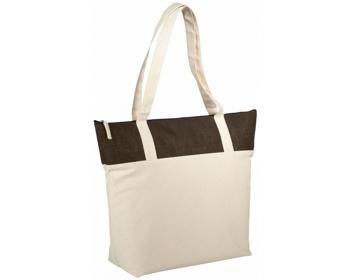 Náhled produktu Bavlněná taška s jutou PROB s dlouhými uchy - přírodní / hnědá