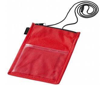 Náhled produktu Průhledné pouzdro na jmenovku RABIC s poutkem - červená