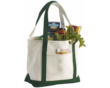 Náhled produktu Lodičková taška z hrubé bavlny FACTA - přírodní / zelená