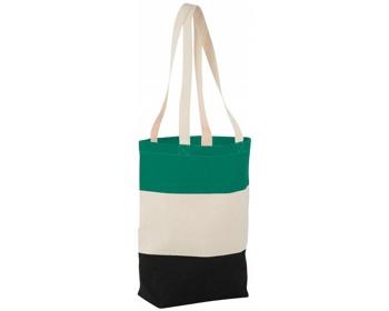 Náhled produktu Bavlněná nákupní taška LA PLAYA s dlouhými uchy - přírodní / zelená