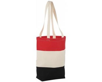 Náhled produktu Bavlněná nákupní taška LA PLAYA s dlouhými uchy - přírodní / červená