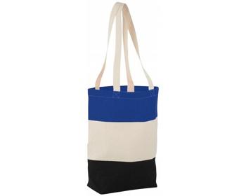 Náhled produktu Bavlněná nákupní taška LA PLAYA s dlouhými uchy - přírodní / královská modrá