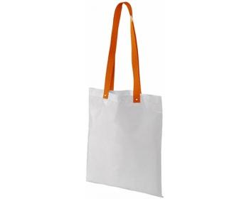 Náhled produktu Polyesterová nákupní taška SNARL s barevnými uchy - bílá / oranžová