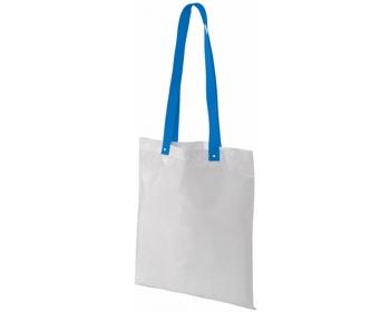 Náhled produktu Polyesterová nákupní taška SNARL s barevnými uchy - bílá / modrá