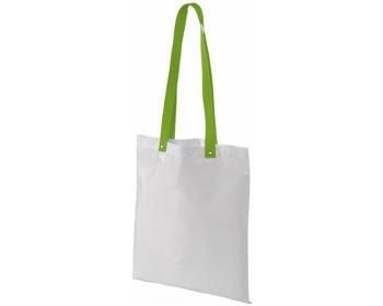 Náhled produktu Polyesterová nákupní taška SNARL s barevnými uchy - bílá / jemně zelená