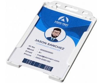 Náhled produktu Transparentní plastové pouzdro na ID kartu CATHA - bílá