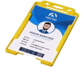 Náhled produktu Transparentní plastové pouzdro na ID kartu CATHA - žlutá