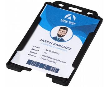 Náhled produktu Transparentní plastové pouzdro na ID kartu CATHA - černá