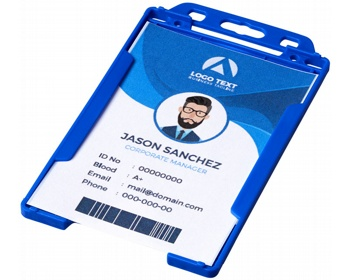 Náhled produktu Transparentní plastové pouzdro na ID kartu CATHA - modrá