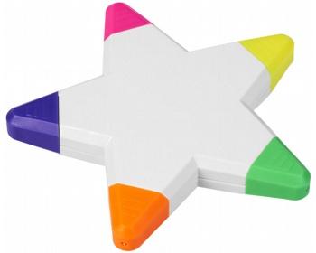 Náhled produktu Pět barevných zvýrazňovačů STELA ve tvaru hvězdy - bílá