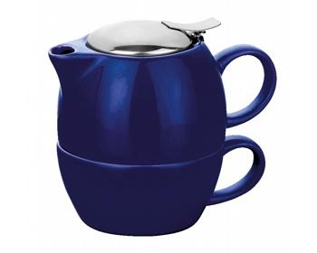 Náhled produktu Keramická konvička COLE se sítkem na čaj a šálkem, 400ml - modrá