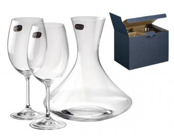 Náhled produktu Sada karafy a sklenic Bohemia WINE SET, 3ks, 450 ml - transparentní