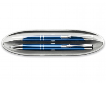 Náhled produktu Sada kovového kuličkového pera a mikrotužky OLEG SET - modrá