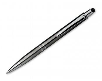 Náhled produktu Plastové kuličkové pero Santini MARIETA UV STYLUS s modrou náplní s nízkou viskozitou - ocelově šedá