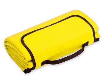 Náhled produktu Skládací fleecová cestovní deka na piknik PAT - žlutá