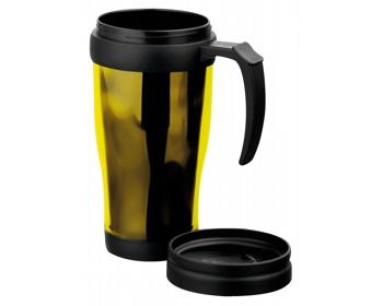 Náhled produktu Plastový termohrnek BRASCO, 400ml - žlutá