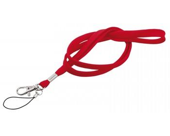 Náhled produktu Textilní šňůrka na krk SALMA s karabinou a poutkem - červená