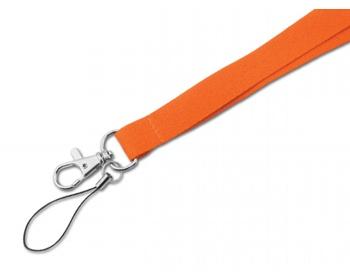 Náhled produktu Textilní šňůrka na krk MACY s karabinou a poutkem - oranžová