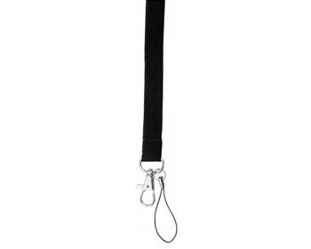 Náhled produktu Textilní šňůrka na krk VALMONT s karabinou a poutkem na mobil - černá