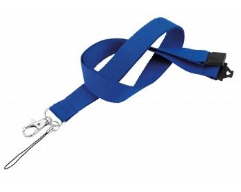 Náhled produktu Textilní šňůrka na krk VALMONT s karabinou a poutkem na mobil - královská modrá