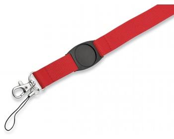Náhled produktu Textilní šňůrka na krk DOMINGO s karabinou a poutkem na mobil - červená