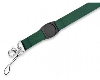 Náhled produktu Textilní šňůrka na krk DOMINGO s karabinou a poutkem na mobil - zelená