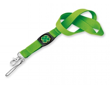 Náhled produktu Textilní šňůrka na krk DOMINGO s karabinou a poutkem na mobil - světle zelená