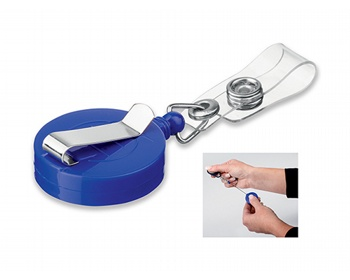 Náhled produktu Plastový samonavíjecí držák s kovovým klipem SWINNY - královská modrá