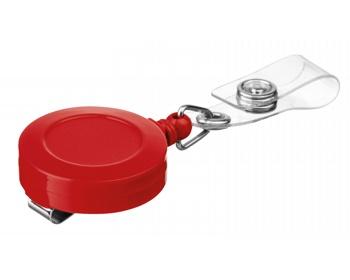 Náhled produktu Plastový samonavíjecí držák s kovovým klipem SWINNY - červená