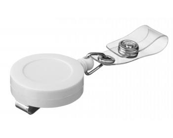 Náhled produktu Plastový samonavíjecí držák s kovovým klipem SWINNY - bílá
