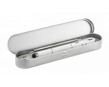 Náhled produktu Kovové laserové ukazovátko KEYNOTE s kuličkovým perem - bílá